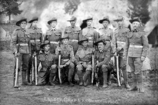 Colour Sergeant J W Cordwell (standing, right) at Langwarrin 1906